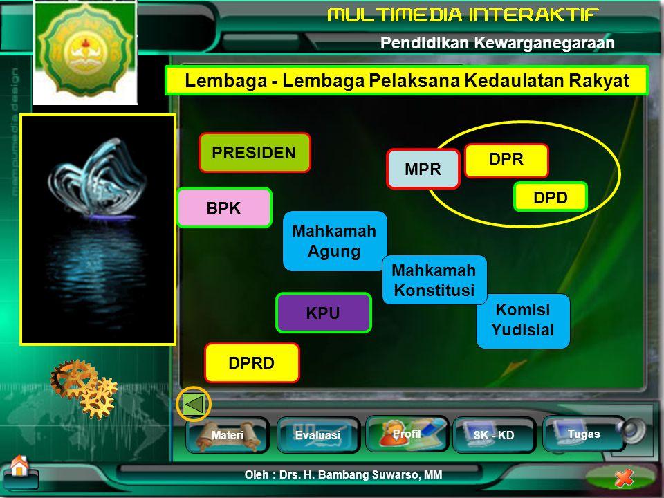 MateriEvaluasi Profil SK - KD Oleh : Drs. H. Bambang Suwarso, MM Pendidikan Kewarganegaraan Tugas Mengapa diperlukan Lembaga - Lembaga Pelaksana Kedau