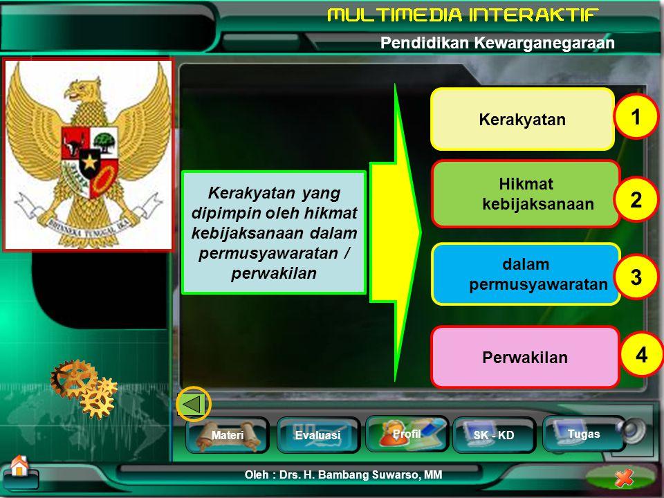 MateriEvaluasi Profil SK - KD Oleh : Drs. H. Bambang Suwarso, MM Pendidikan Kewarganegaraan Tugas Landasan Idiil : PANCASILA Kerakyatan yang dipimpin