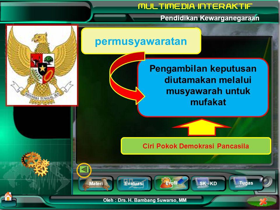 MateriEvaluasi Profil SK - KD Oleh : Drs. H. Bambang Suwarso, MM Pendidikan Kewarganegaraan Tugas dilaksanakan dengan jujur, bertanggung jawab, didoro