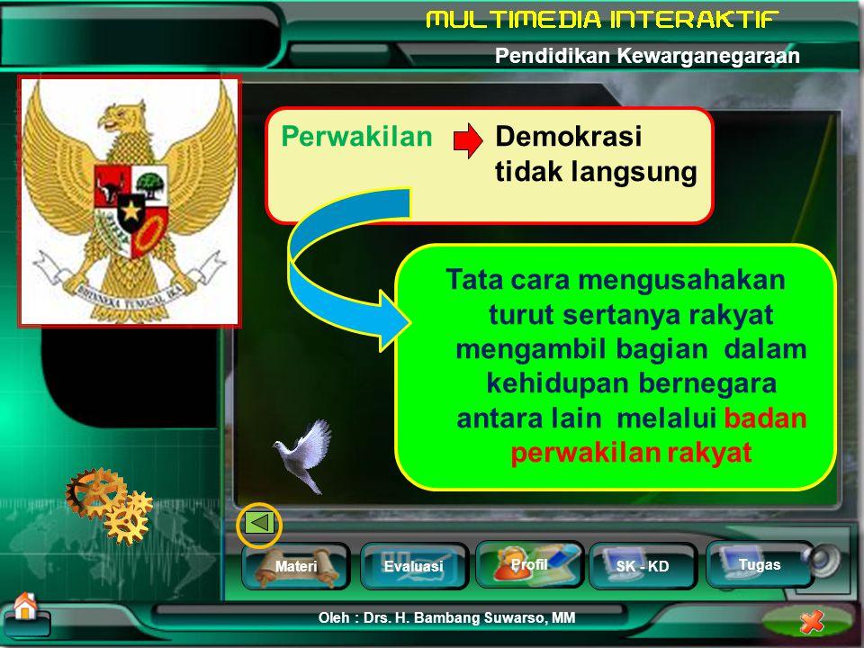 MateriEvaluasi Profil SK - KD Oleh : Drs. H. Bambang Suwarso, MM Pendidikan Kewarganegaraan Tugas permusyawaratan Pengambilan keputusan diutamakan mel