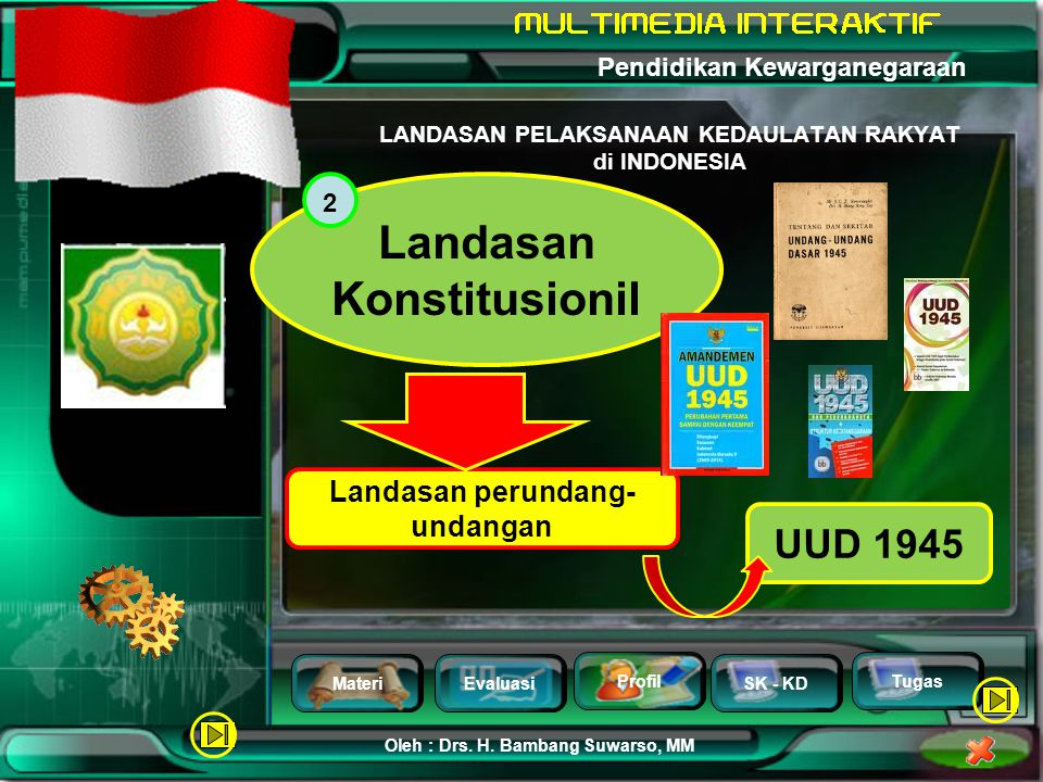 MateriEvaluasi Profil SK - KD Oleh : Drs. H. Bambang Suwarso, MM Pendidikan Kewarganegaraan Tugas Tata cara mengusahakan turut sertanya rakyat mengamb