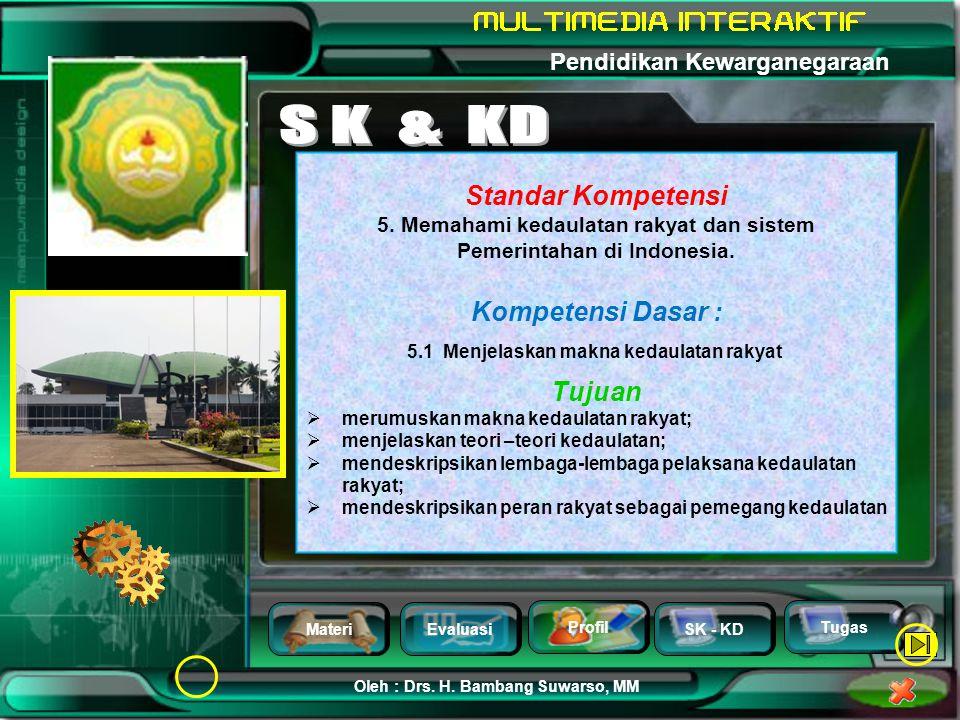 MateriEvaluasi Profil SK - KD Oleh : Drs. H. Bambang Suwarso, MM Pendidikan Kewarganegaraan Tugas Refleksi Baca Juga Halaman 132 - 140