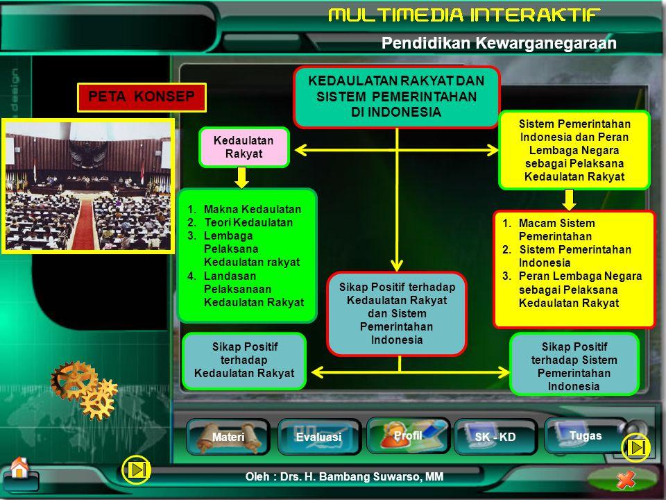 MateriEvaluasi Profil SK - KD Oleh : Drs. H. Bambang Suwarso, MM Pendidikan Kewarganegaraan Tugas Standar Kompetensi 5. Memahami kedaulatan rakyat dan