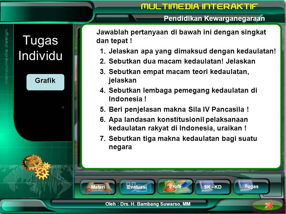 MateriEvaluasi Profil SK - KD Oleh : Drs. H. Bambang Suwarso, MM Pendidikan Kewarganegaraan Tugas Soal Nomor 5 Di bawah ini merupakan makna dari kedau