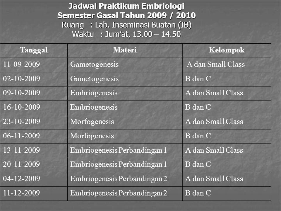 Jadwal Praktikum Embriologi Semester Gasal Tahun 2009 / 2010 Ruang: Lab.
