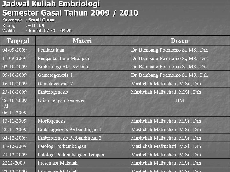 Jadwal Kuliah Embriologi Semester Gasal Tahun 2009 / 2010 Kelompok : Small Class Ruang: 4 D Lt.4 Waktu: Jum'at, 07.30 – 08.20 TanggalMateriDosen 04-09-2009PendahuluanDr.