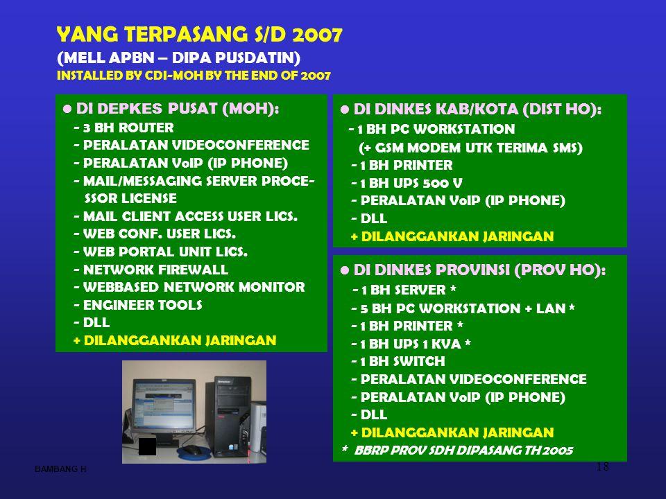 18 BAMBANG H YANG TERPASANG S/D 2007 (MELL APBN – DIPA PUSDATIN) INSTALLED BY CDI-MOH BY THE END OF 2007 DI DINKES KAB/KOTA (DIST HO): - 1 BH PC WORKS