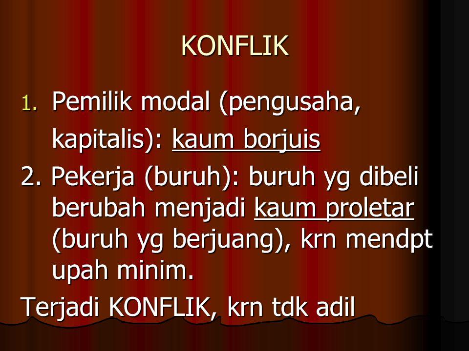 KONFLIK 1.Pemilik modal (pengusaha, kapitalis): kaum borjuis 2.