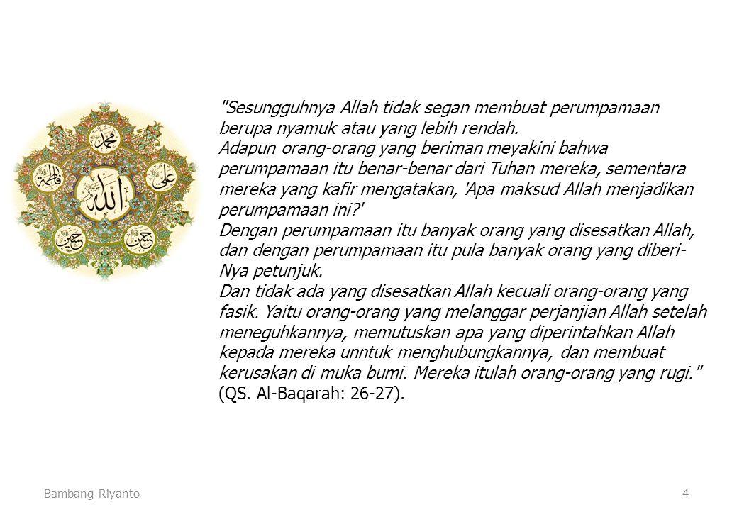 Bambang Riyanto4 Sesungguhnya Allah tidak segan membuat perumpamaan berupa nyamuk atau yang lebih rendah.