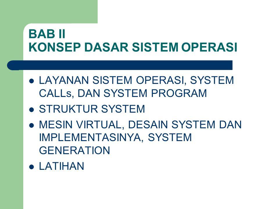 BAB II KONSEP DASAR SISTEM OPERASI LAYANAN SISTEM OPERASI, SYSTEM CALLs, DAN SYSTEM PROGRAM STRUKTUR SYSTEM MESIN VIRTUAL, DESAIN SYSTEM DAN IMPLEMENT
