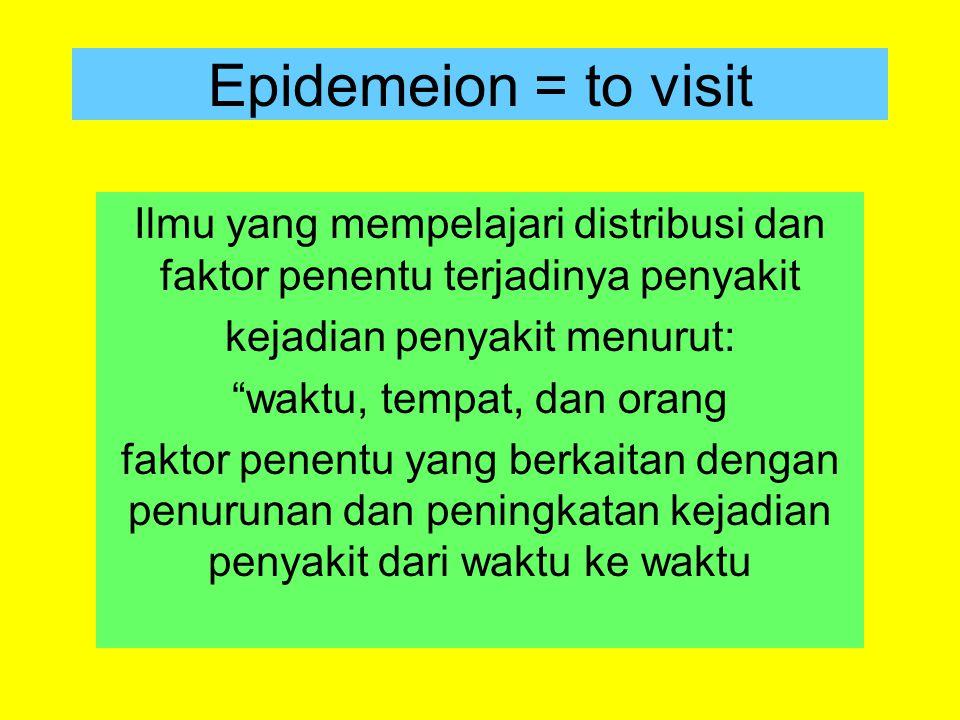 """Epidemeion = to visit Ilmu yang mempelajari distribusi dan faktor penentu terjadinya penyakit kejadian penyakit menurut: """"waktu, tempat, dan orang fak"""