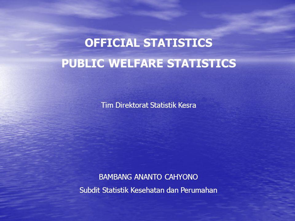 UNDANG-UNDANG NO.16 TAHUN 1997 TENTANG STATISTIK REORGANISASI BPS DIREKTORAT STATISTIK KESEJAHTERAAN RAKYAT SUBDIT STATISTIK RUMAH TANGGA SUBDIT STATISTIK PENDIDIKAN DAN KESOS SUBDIT STATISTIK KESEHATAN DAN PERUMAHAN Data: - Konsumsi/Pengeluaran - Kesra lainnya - Bahan kemiskinan Data: - Pendidikan - Sosial Budaya - Agama Data: - Kesehatan - Perumahan