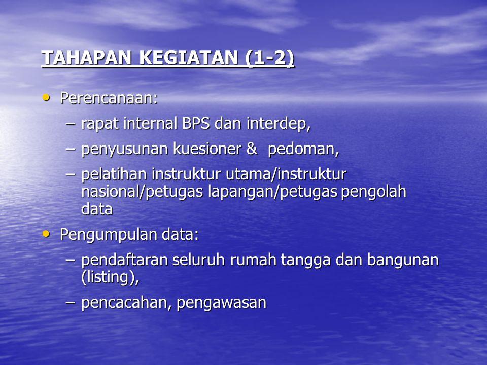 TAHAPAN KEGIATAN (1-2) Perencanaan: Perencanaan: –rapat internal BPS dan interdep, –penyusunan kuesioner & pedoman, –pelatihan instruktur utama/instru