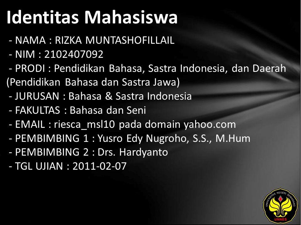 Identitas Mahasiswa - NAMA : RIZKA MUNTASHOFILLAIL - NIM : 2102407092 - PRODI : Pendidikan Bahasa, Sastra Indonesia, dan Daerah (Pendidikan Bahasa dan
