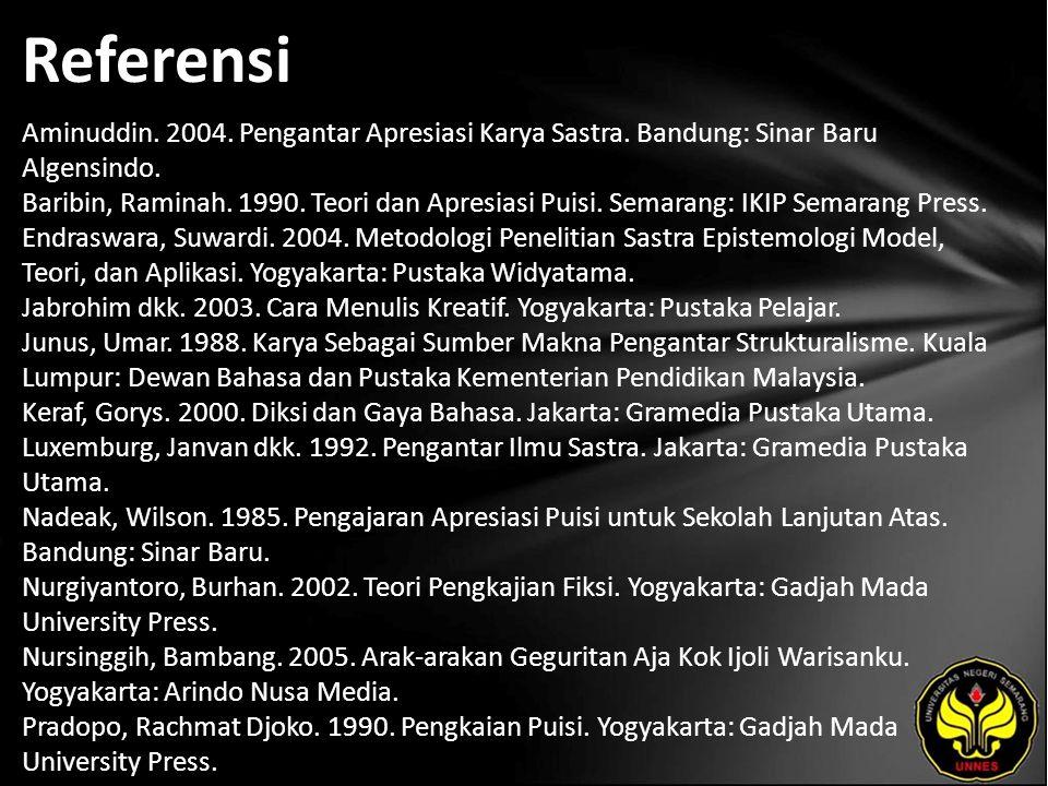 Referensi Aminuddin. 2004. Pengantar Apresiasi Karya Sastra. Bandung: Sinar Baru Algensindo. Baribin, Raminah. 1990. Teori dan Apresiasi Puisi. Semara