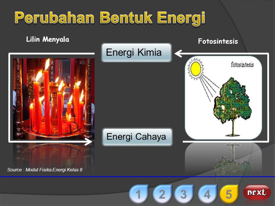 Energi KimiaEnergi Listrik Baterai Pengisian Aki 12345 Source : Modul Fisika Energi Kelas 8