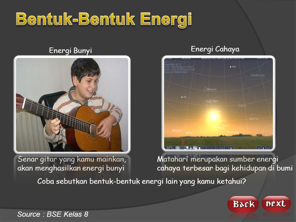 Energi Kimia Makanan merupakan sumber energi kimia bagi tubuh kita Energi Listrik Kita membutuhkan energi listrik untuk menghidupkan benda-benda elektronik Source : BSE Kelas 8