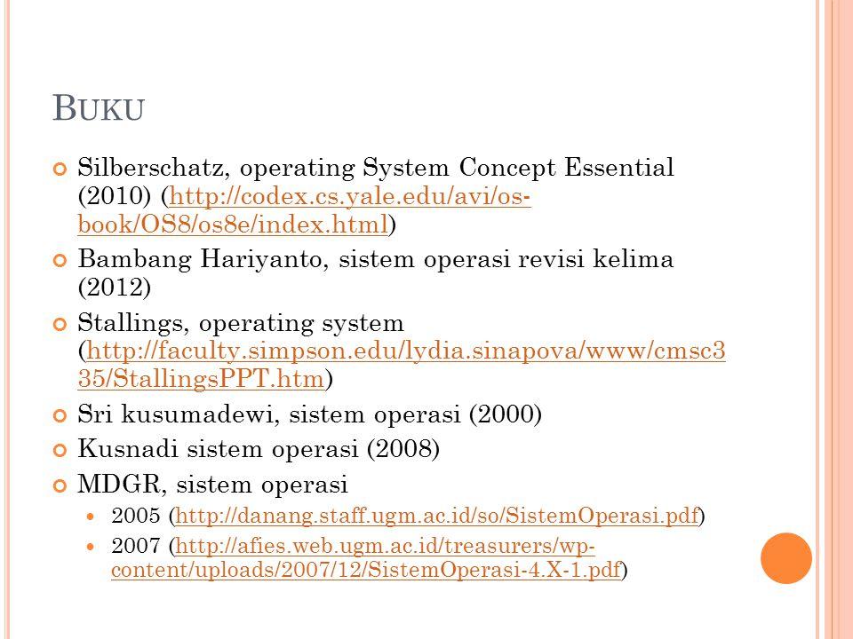 B UKU Silberschatz, operating System Concept Essential (2010) (http://codex.cs.yale.edu/avi/os- book/OS8/os8e/index.html)http://codex.cs.yale.edu/avi/