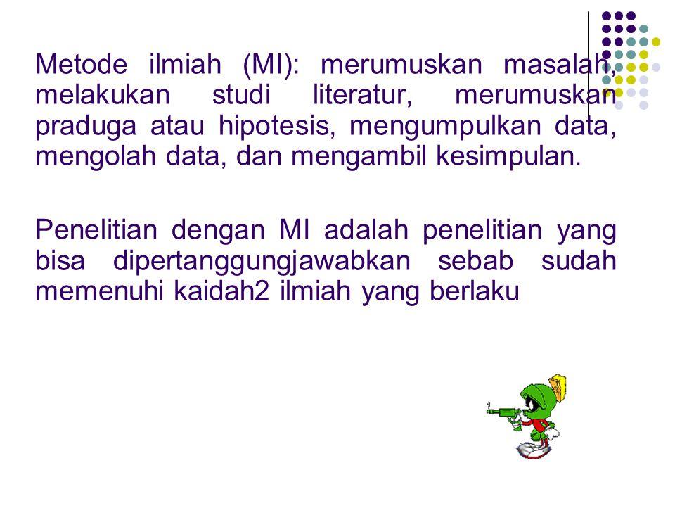 Metode ilmiah (MI): merumuskan masalah, melakukan studi literatur, merumuskan praduga atau hipotesis, mengumpulkan data, mengolah data, dan mengambil