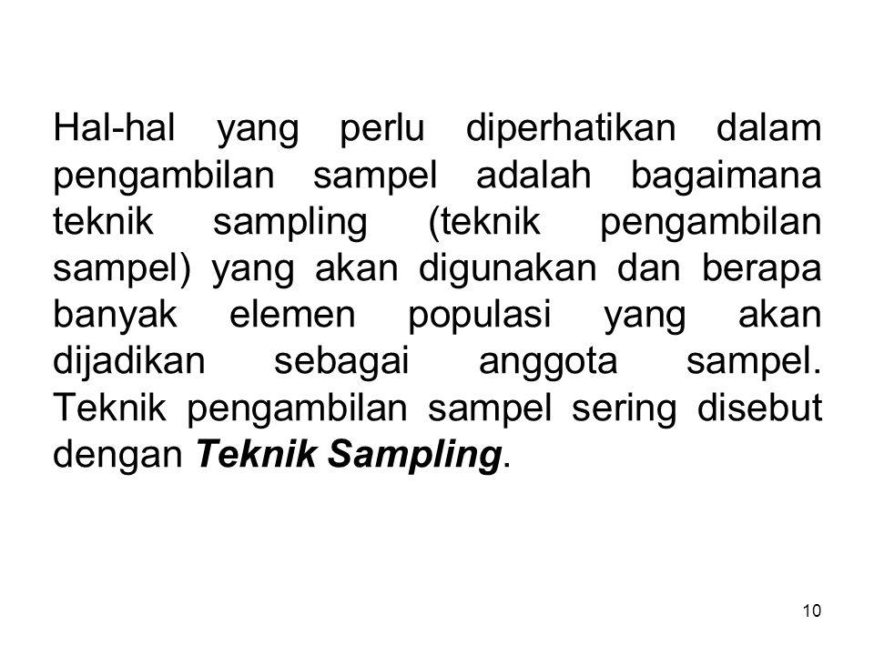 10 Hal-hal yang perlu diperhatikan dalam pengambilan sampel adalah bagaimana teknik sampling (teknik pengambilan sampel) yang akan digunakan dan berap