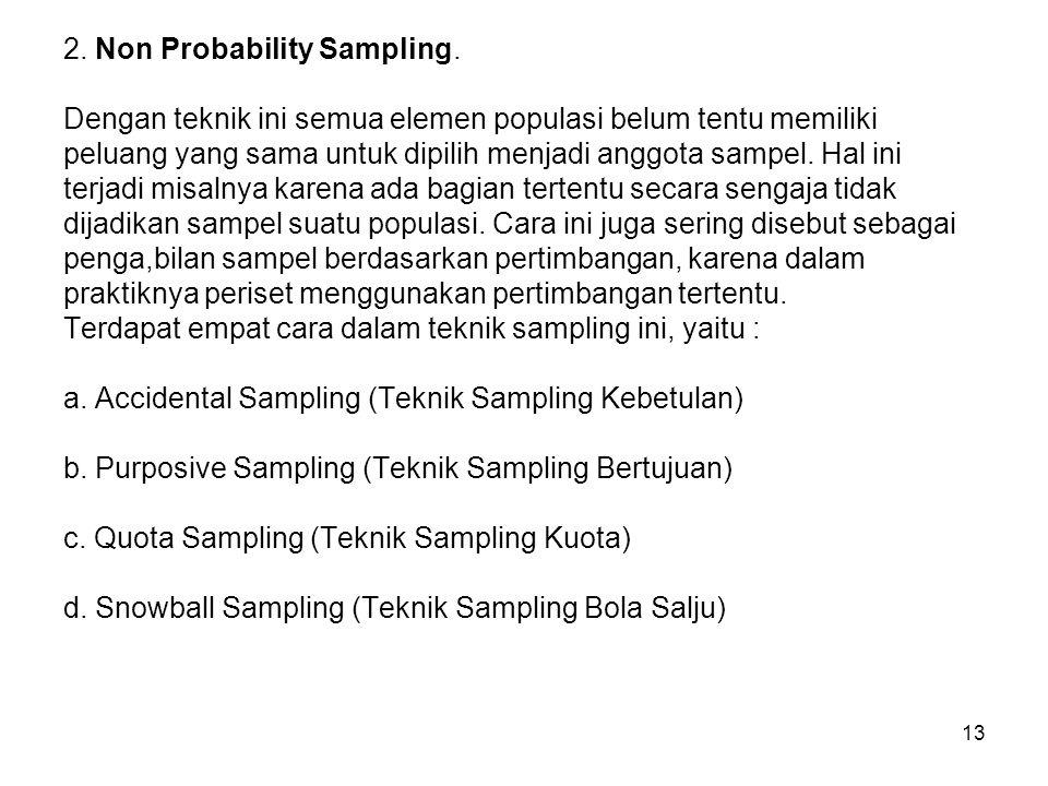 13 2. Non Probability Sampling. Dengan teknik ini semua elemen populasi belum tentu memiliki peluang yang sama untuk dipilih menjadi anggota sampel. H
