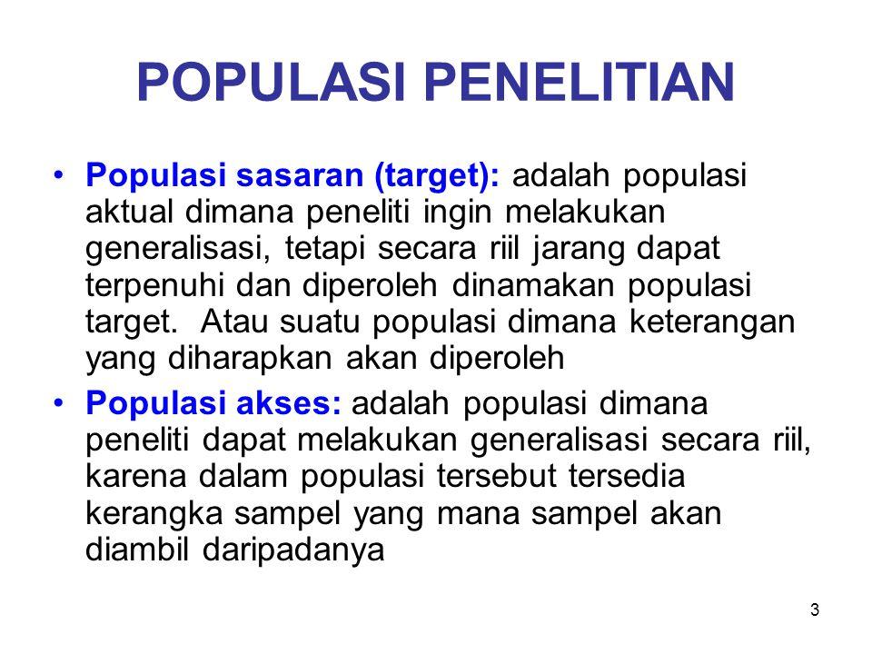 3 POPULASI PENELITIAN Populasi sasaran (target): adalah populasi aktual dimana peneliti ingin melakukan generalisasi, tetapi secara riil jarang dapat