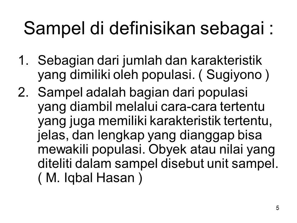 5 Sampel di definisikan sebagai : 1.Sebagian dari jumlah dan karakteristik yang dimiliki oleh populasi. ( Sugiyono ) 2.Sampel adalah bagian dari popul