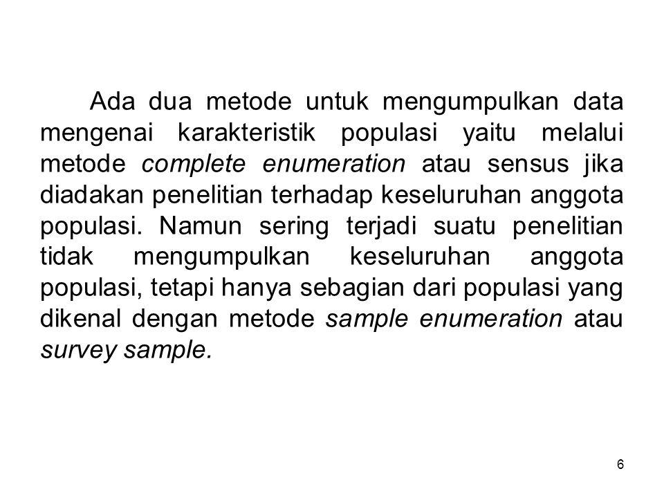6 Ada dua metode untuk mengumpulkan data mengenai karakteristik populasi yaitu melalui metode complete enumeration atau sensus jika diadakan penelitia