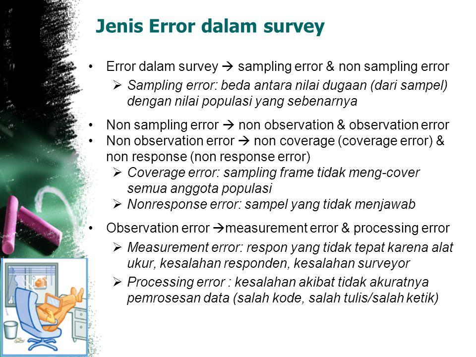 Jenis Error dalam survey Error dalam survey  sampling error & non sampling error  Sampling error: beda antara nilai dugaan (dari sampel) dengan nila