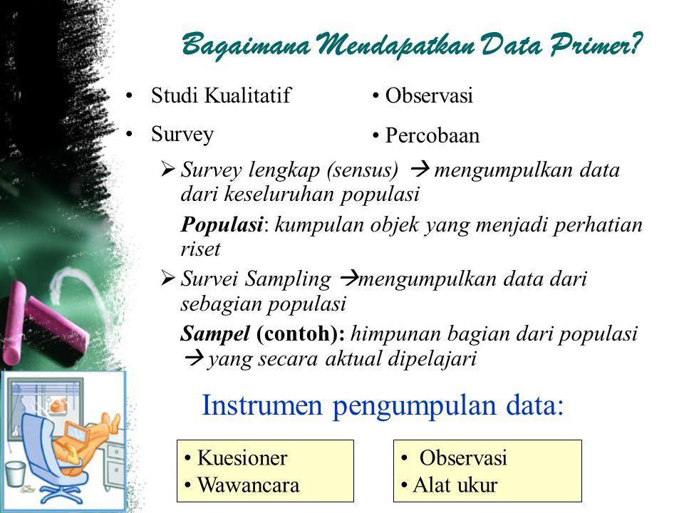 Bagaimana Mendapatkan Data Primer? Studi Kualitatif Survey  Survey lengkap (sensus)  mengumpulkan data dari keseluruhan populasi Populasi: kumpulan