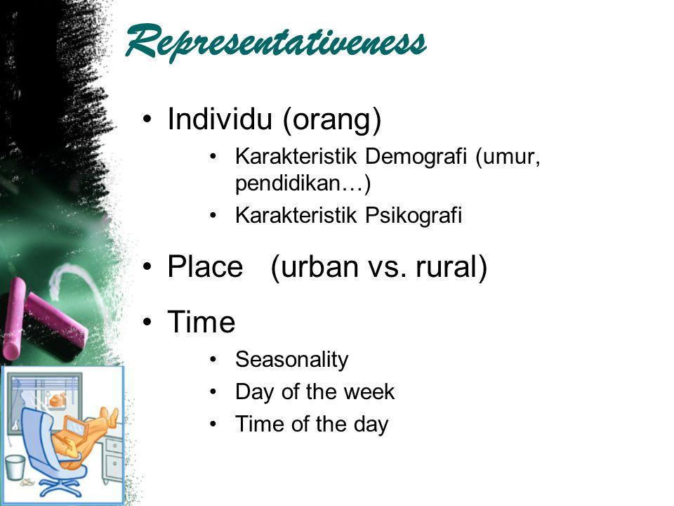 Representativeness Individu (orang) Karakteristik Demografi (umur, pendidikan…) Karakteristik Psikografi Place (urban vs. rural) Time Seasonality Day