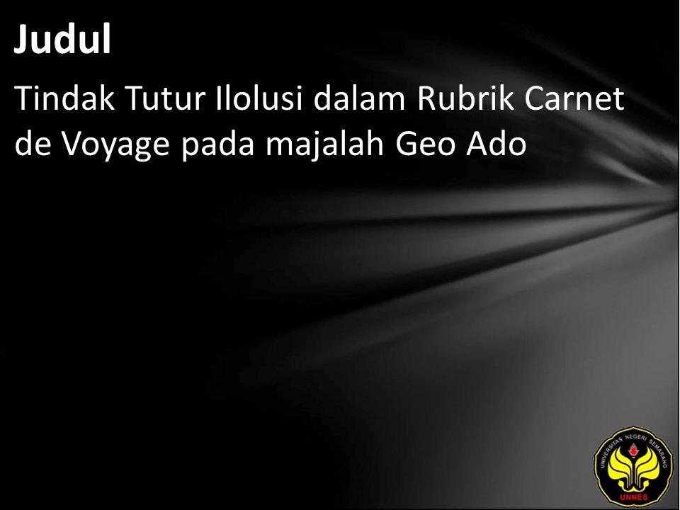Judul Tindak Tutur Ilolusi dalam Rubrik Carnet de Voyage pada majalah Geo Ado