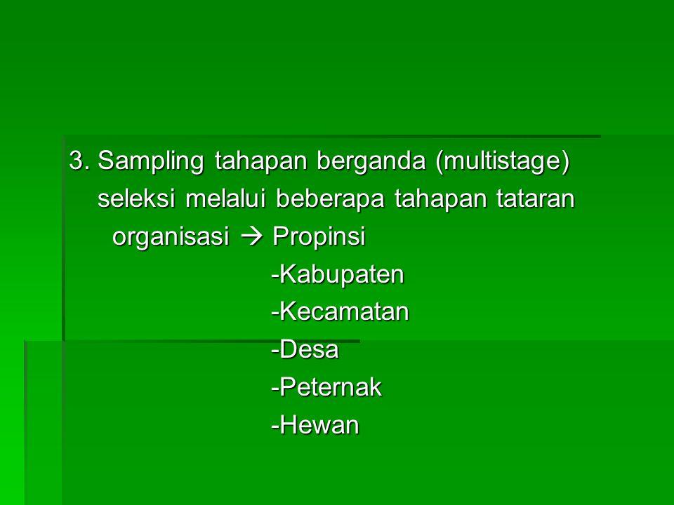 3. Sampling tahapan berganda (multistage) seleksi melalui beberapa tahapan tataran seleksi melalui beberapa tahapan tataran organisasi  Propinsi orga