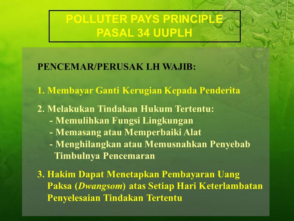 POLLUTER PAYS PRINCIPLE PASAL 34 UUPLH PENCEMAR/PERUSAK LH WAJIB: 1.