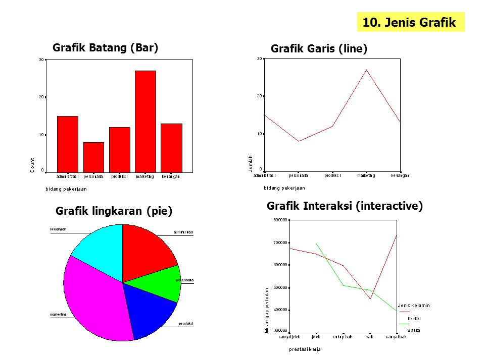 10. Jenis Grafik Grafik Batang (Bar) Grafik Garis (line) Grafik lingkaran (pie) Grafik Interaksi (interactive)