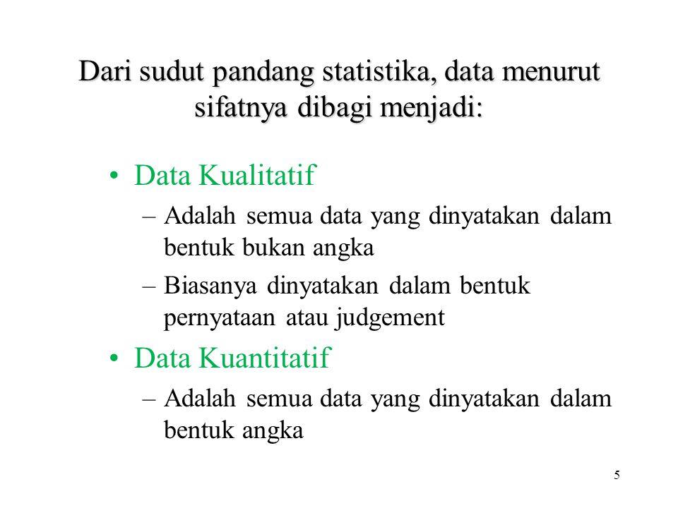 Dari sudut pandang statistika, data menurut sifatnya dibagi menjadi: Data Kualitatif –Adalah semua data yang dinyatakan dalam bentuk bukan angka –Bias