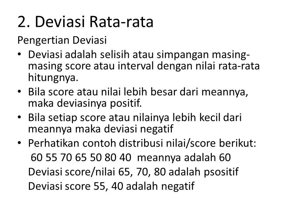 Deviasi rata-rata (Mean Deviasi) Deviasi rata-rata adalah jumlah harga mutlak deviasi setiap score dibagi dengan banyaknya score Rumus mencarinya adalah: Mx = Deviasi rata-rata F = frekuensi X = nilai N = banyaknya nilai