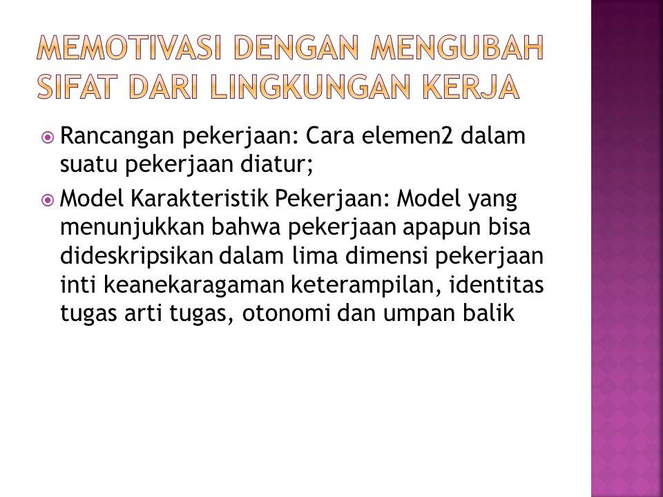  Rancangan pekerjaan: Cara elemen2 dalam suatu pekerjaan diatur;  Model Karakteristik Pekerjaan: Model yang menunjukkan bahwa pekerjaan apapun bisa