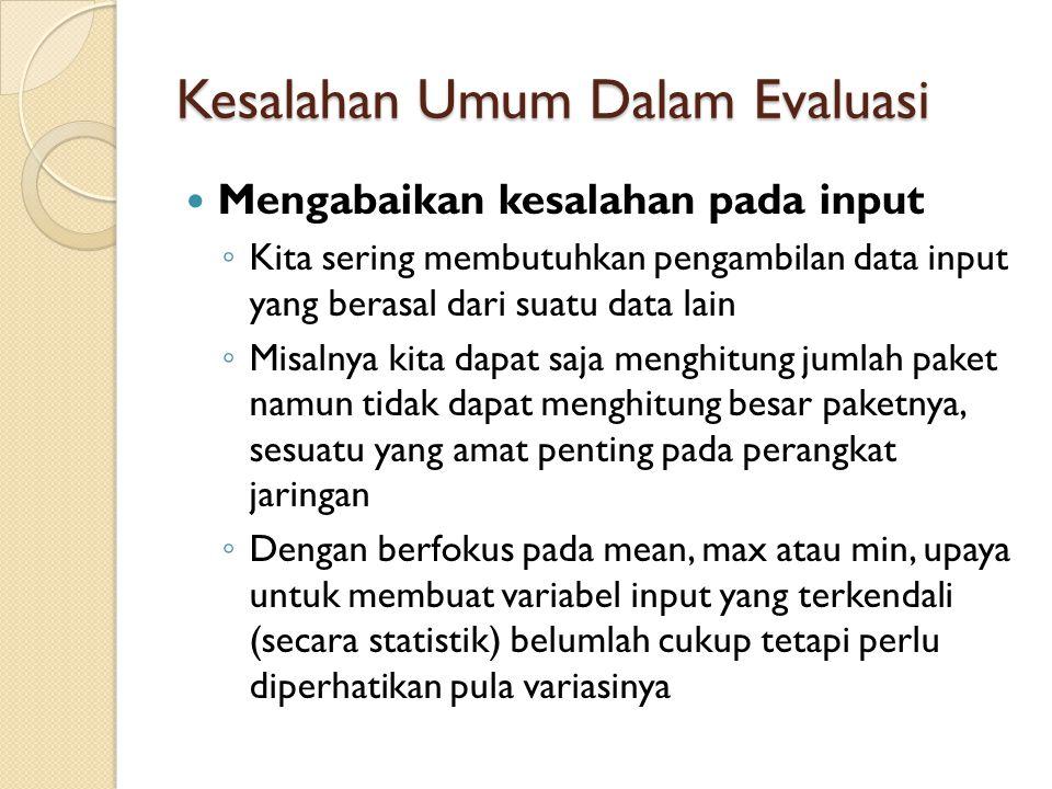 Kesalahan Umum Dalam Evaluasi Mengabaikan kesalahan pada input ◦ Kita sering membutuhkan pengambilan data input yang berasal dari suatu data lain ◦ Mi