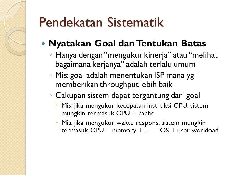 """Pendekatan Sistematik Nyatakan Goal dan Tentukan Batas ◦ Hanya dengan """"mengukur kinerja"""" atau """"melihat bagaimana kerjanya"""" adalah terlalu umum ◦ Mis:"""