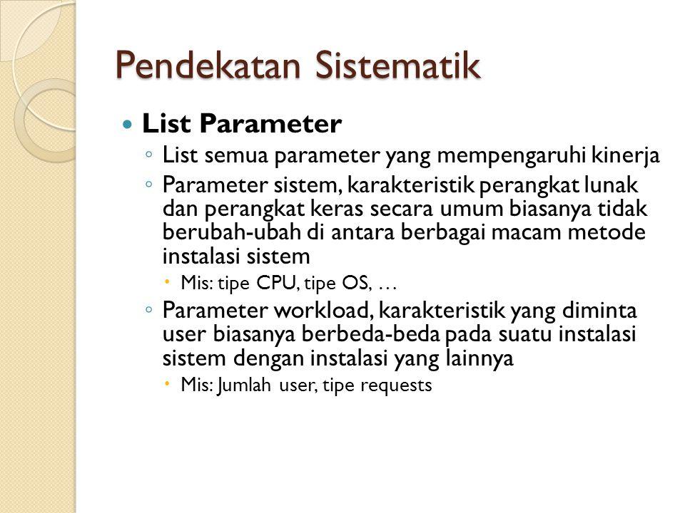 Pendekatan Sistematik List Parameter ◦ List semua parameter yang mempengaruhi kinerja ◦ Parameter sistem, karakteristik perangkat lunak dan perangkat