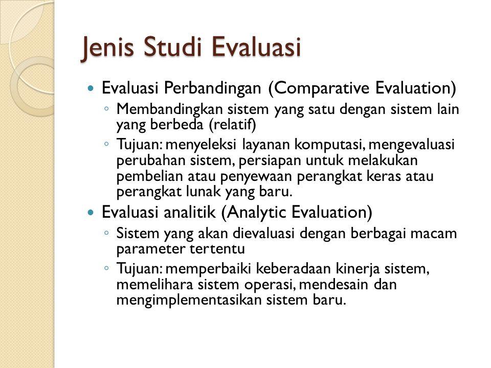 Jenis Studi Evaluasi Evaluasi Perbandingan (Comparative Evaluation) ◦ Membandingkan sistem yang satu dengan sistem lain yang berbeda (relatif) ◦ Tujua