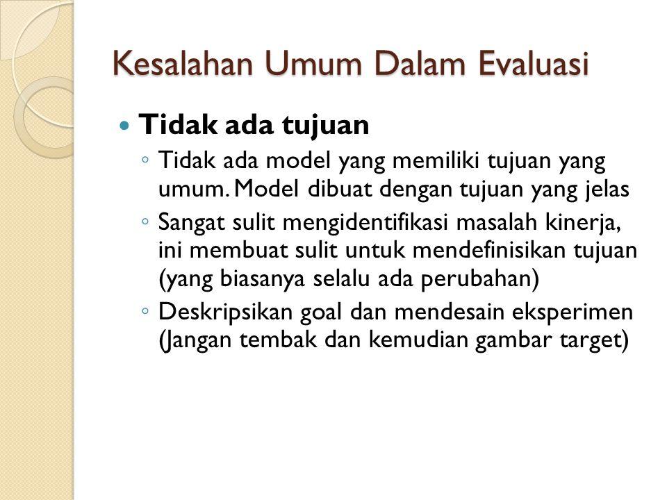 Kesalahan Umum Dalam Evaluasi Tidak ada tujuan ◦ Tidak ada model yang memiliki tujuan yang umum. Model dibuat dengan tujuan yang jelas ◦ Sangat sulit