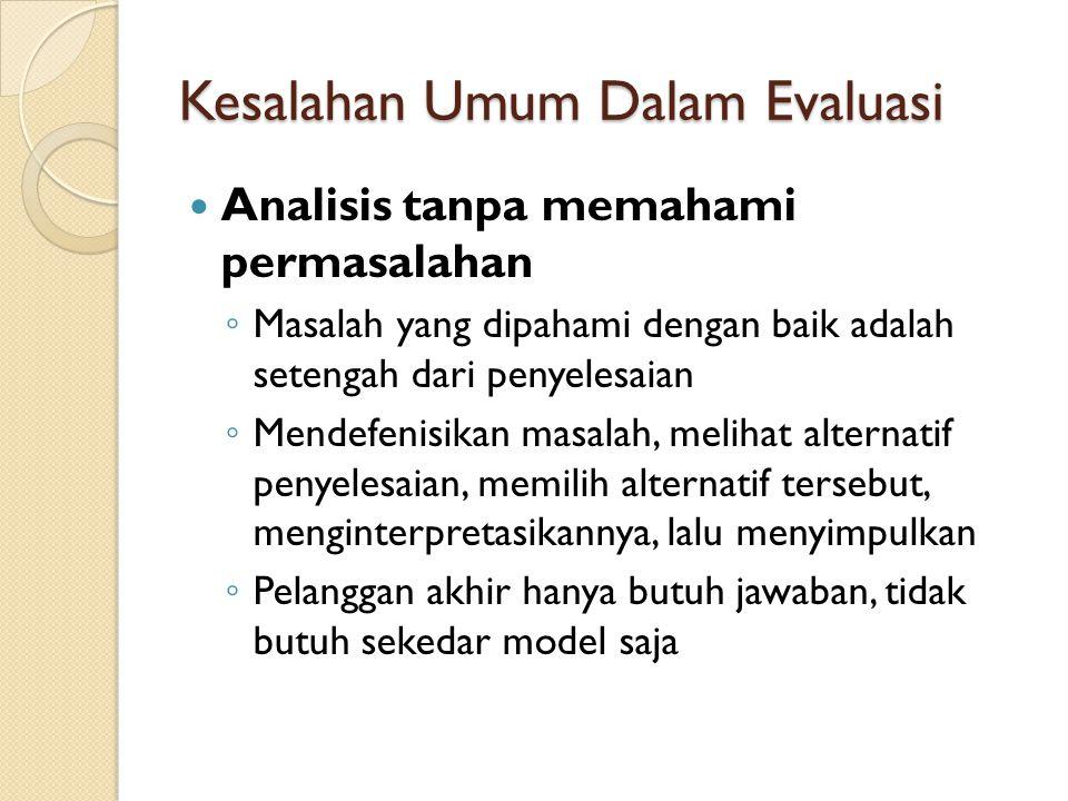 Kesalahan Umum Dalam Evaluasi Analisis tanpa memahami permasalahan ◦ Masalah yang dipahami dengan baik adalah setengah dari penyelesaian ◦ Mendefenisi