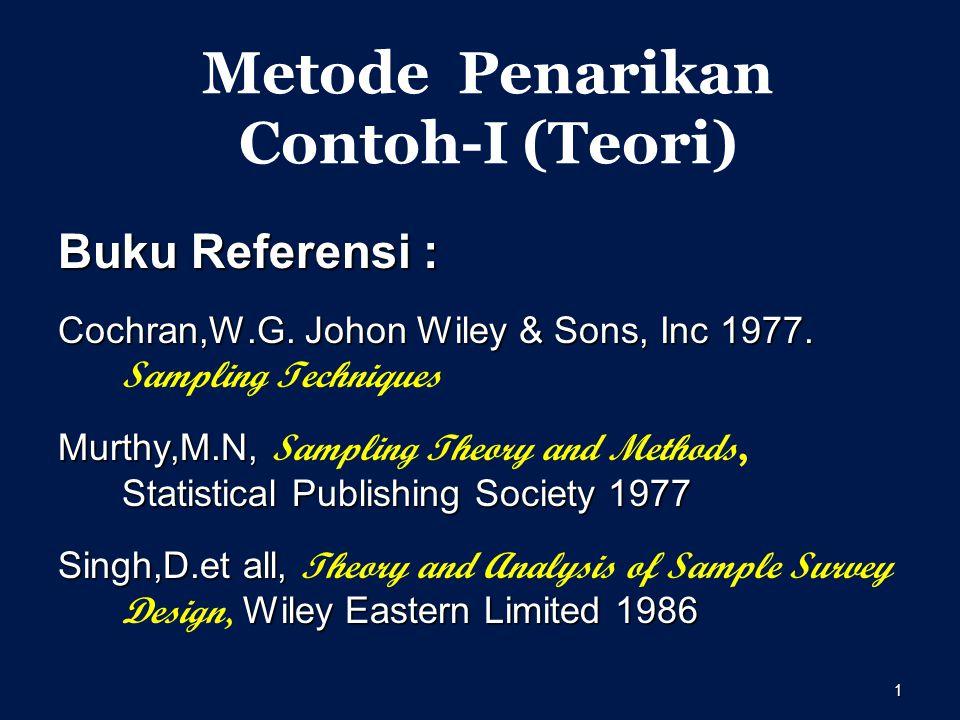 1 Metode Penarikan Contoh-I (Teori) Buku Referensi : Cochran,W.G.