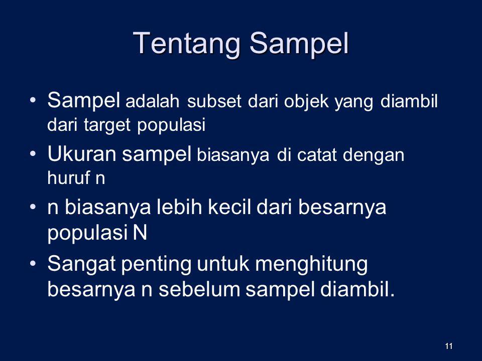 Tentang Sampel Sampel adalah subset dari objek yang diambil dari target populasi Ukuran sampel biasanya di catat dengan huruf n n biasanya lebih kecil dari besarnya populasi N Sangat penting untuk menghitung besarnya n sebelum sampel diambil.