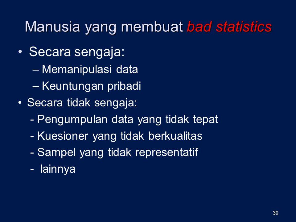Manusia yang membuat bad statistics Secara sengaja: –Memanipulasi data –Keuntungan pribadi Secara tidak sengaja: - Pengumpulan data yang tidak tepat - Kuesioner yang tidak berkualitas - Sampel yang tidak representatif - lainnya 30