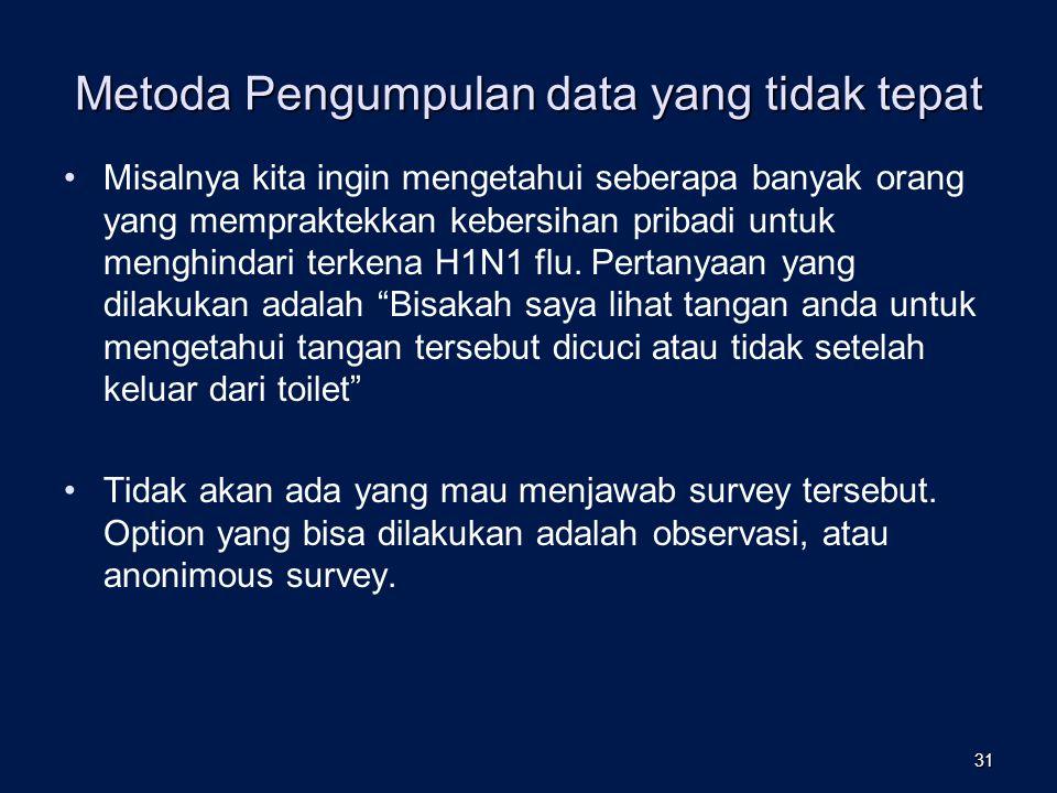 Metoda Pengumpulan data yang tidak tepat Misalnya kita ingin mengetahui seberapa banyak orang yang mempraktekkan kebersihan pribadi untuk menghindari terkena H1N1 flu.