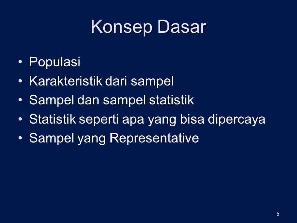Konsep Dasar Populasi Karakteristik dari sampel Sampel dan sampel statistik Statistik seperti apa yang bisa dipercaya Sampel yang Representative 5