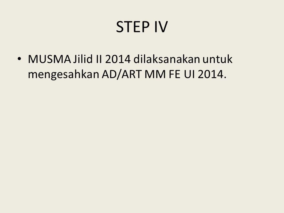 STEP IV MUSMA Jilid II 2014 dilaksanakan untuk mengesahkan AD/ART MM FE UI 2014.